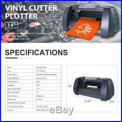 14 LCD Vinyl Cutter Plotter Cutting Sign Sticker Making Print Software 3 Blades