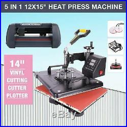 14 Vinyl Cutter Plotter WithSoftware+ LCD and 5 in 1 12x15 Heat Press Machine