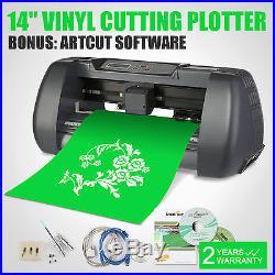14 Vinyl Cutter Sign Cutting Plotter with Artcut Pro Software Design Cut 3 Blades