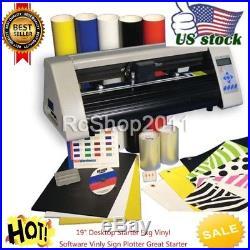 19 RS500C Desktop Starter Pkg Vinyl Cutter Software Vinly Sign Plotter USA SHIP