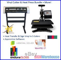 31 Vinyl Cutter, 9x12 Heat Press, Heat Transfer & Sign Vinyl + Software