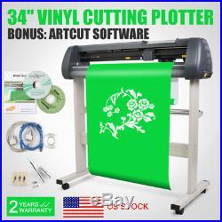 34 Vinyl Cutter Plotter Sign Sticker Machine With Stand Artcut Software US SHIP