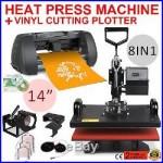 8in1 Heat Press Transfer Kit 14 Vinyl Cutting Plotter 3 Blades Cutter Software