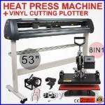 8in1 Heat Press Transfer Kit 53 Vinyl Cutting Plotter T-Shirt Cutter Software