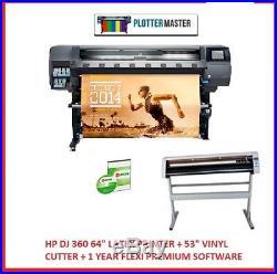HP Dj 360 64 Latex Printer + 53 Vinyl Cutter + 1 Year Flexi Premium Software